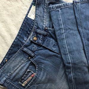 Diesel Vixy Distressed Wide Leg Denim Jeans 008LB